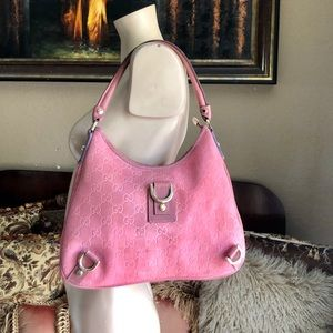 GUCCI Pink Suede Abbey D-Ring Hobo Handbag